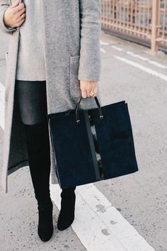 Grey and black for fall - outfit inspiration and street style