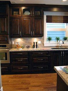 (paid link) dark wood Kitchen Ideas Dark Wood Kitchen Cabinets, Cherry Wood Cabinets, Backsplash With Dark Cabinets, Dark Wood Kitchens, Wood Floor Kitchen, Kitchen Flooring, Kitchen Backsplash, New Kitchen, Kitchen Decor