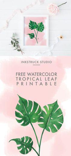 Download free watercolor tropical leaf printable   Inkstruck Studio