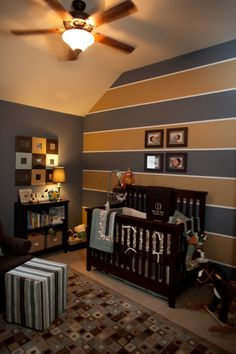 Baby boy nursery that could easily be a more grown -up look for later. :)