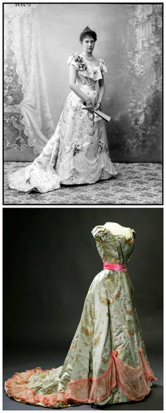 Princess Ingeborg, Duchess of Västergötland (1878-1958), possibly attired in an evening dress, by Börre & Lorenzen & Co, that is now in the collection of the Royal Armory in Stockholm. Dress of pale blue-green, almost gray, silk satin with woven bright pink and pale pink roses. Square neckline front and rounded deep neckline at the back. Photos via (Top): carolathhabsburg on Tumblr; (Below): Wikimedia Commons.