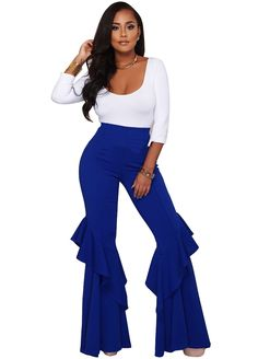Chic Ruffles Palazzo Pants Two Piece Set_Pant Set_Women Set_Sexy Lingeire | Cheap Plus Size Lingerie At Wholesale Price | Feelovely.com