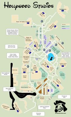 KennythePirate's Hollywood Studios Map including Fastpass plus locations, rides, shows, characters, dining and shopping | KennythePirate Disney World Guide