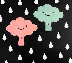 2 Cute Smily Clouds Children's Wall Hooks / Rainy Nursery Wall hangers / Kid's Towel Racks / Kids Room hooks