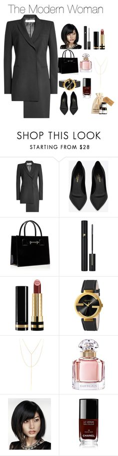 """The modern woman"" by fivestreet ❤ liked on Polyvore featuring Off-White, Yves Saint Laurent, Lancôme, Gucci, South Moon Under, Guerlain, Chanel and modern"