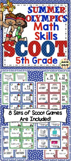 Olympic Math Scoot 5th Grade - Your students will have a blast with this set of 8 Olympic math Scoot games! $