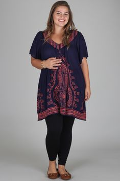 Navy-Blue-Pink-Bohemian-Printed-Plus-Size-Maternity-Tunic