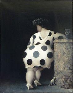 """Jeanne Lorioz (1954-) is een Frans kunstenaar, die studeerde aan de """"Ecole Superieurs des Arts Appliques' in Parijs. Zij lijkt in haar schilderijen de gek te steken met het idee van schoonheid, door de vrouwen extra aan te dikken."""