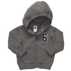 Easy to mix and match, this zip-front hoodie is great for layering with his first mini blues.    Cozy sweater knit with easy-on zip front  Easy to match with lots of bottoms  Ribbed cuffs keep sleeves in place  100% cotton  Imported  Machine washable  MSRP: $26.00  Price: $15.60