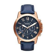 3d9386175ead Now available Fossil Men s FS4835 Grant Chronograph Leather Watch - Rose  Gold-Tone and Blue