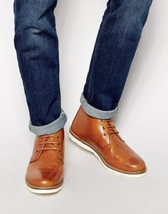ASOS Chukka Boots in Leather - Tan leather