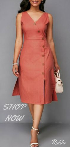 Button Detail Zipper Back V Neck Dress,nice color,nice design,juest buy it - Cv Resumes - CV Examples - Resume Examples - Resume Images African Fashion Dresses, African Dress, Fashion Outfits, Womens Fashion, Moda Fashion, Costura Fashion, High Fashion, Linen Dresses, Casual Dresses