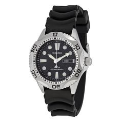 Seiko Solar Quartz Dive Black Dial Men's Watch SNE107P2