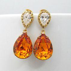 Amber Topaz Earrings Cubic Zirconia Swarovski Crystal Teardrop Dangle Earrings Gold Burnt Orange Earrings Bridesmaid Gift Wedding Jewelry