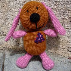 Free Patterns by H: Prize Plushie Dog Amigurumi (Based on Kuddle Me Toys Claw Prize Plush)