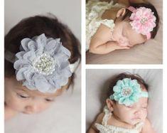 Items similar to Flower Headband, Lace Flower headband, Lace Flower, Polka Dot Flower headband, Girls Headband, Newborn Headband, 5 inch flower headband on Etsy