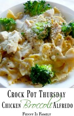 This Crock Pot Chicken Broccoli Alfredo recipe is an easy meal to throw together for dinner and it tastes great!