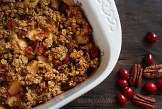 Apple Cranberry Crumble #vegetarian #holiday #apple #cranberry #dessert #breakfast #crumble