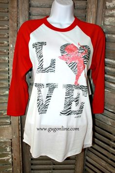 Get 10% off your entire order at www.gugonline.com by using the discount code GUGREPKCAR at checkout! Zebra Love Cupid Red Baseball Tee