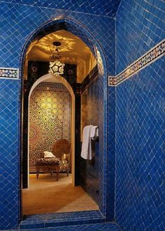 Every mosaic tile was laid one at a time in this elaborate shower by designer Chris Barrett.