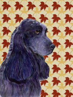 Cocker Spaniel Fall Leaves Portrait Flag Canvas House Size
