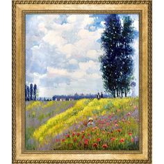 La Pastiche Claude Monet 'Walk in the Meadows at Argenteuil' Hand Painted Framed Art