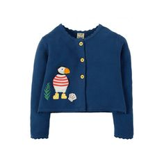 dfc3a2e199 Frugi Organic Milly Applique Swing Cardigan - Marine Blue Puffin. Baby goes  Retro