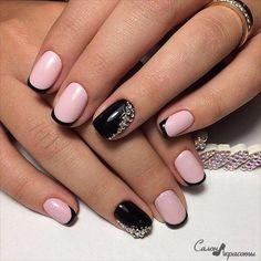 A sensual drawing, which is exactly will be liked by all the girls without exception. The milky pink colour in combination with a rich black lacquer create
