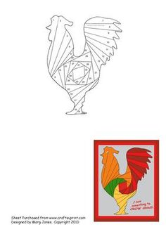 Rooster Iris Folding Pattern on Craftsuprint designed by Margaret Jones - Here's a pattern to ma Quilling Patterns, Paper Piecing Patterns, Card Patterns, Pattern Paper, Quilt Patterns, Embroidery Patterns, Iris Folding Templates, Iris Paper Folding, Iris Folding Pattern
