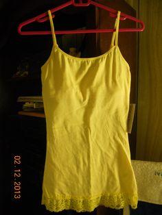Derek Heart Juniors spaghetti straps cotton blend stretch lace bottom cami top M  | eBay