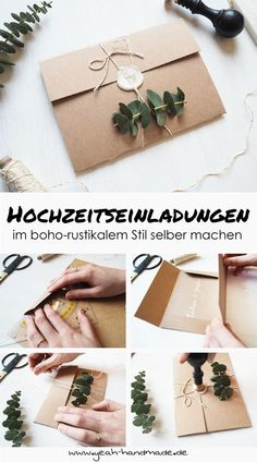 DIY Hochzeitseinladungen im boho-rustikalen Stil Make your own handmade kraft paper and eucalyptus wedding invitations, a perfect wedding shower for a boho wedding or a rustic-style wedding. DIY instructions and tips can be found on Yeah Handmade. Wedding Invitations Diy Handmade, Diy Invitations, Wedding Stationery, Diy Wedding Envelopes, Wedding Invitation Boho, Kraft Wedding Invitations, Invitations Online, Invitation Wording, Invitation Ideas