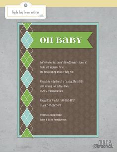 Argyle Baby Shower Invitation / Boy / by morepersonal - Check out my sister's Etsy shop for more party invites/goodies