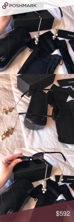 🆕CHANEL Auth Chain Sunglasses Authentic Guaranteed! New beautiful CHANEL sunglasses come with everything in the pictures as well as little covers to go over each arm. So unique and pretty with Chanel CC logos and pearls on the end of each arm so when your wearing them it looks as though your wearing a classic pair of CHANEL earrings.🖤Fair & Reasonable Offers Considered🖤 CHANEL Accessories Sunglasses