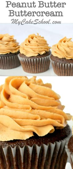 This delicious Peanut Butter Buttercream Recipe is fantastic with chocolate cakes and cupcakes! by MyCakeSchool.com.