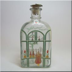 Holmegaard glass 'Christmas' decanter, designed by Michael Bang & Jette Frölich, labelled.