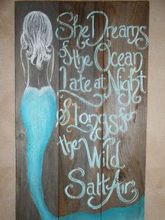 Mermaid Sign NEW DESIGN Hand Painted ORIGINAL by tawnystreasures