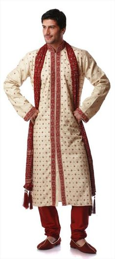11103, Sherwani, Art Silk, Machine Embroidery, Red and Maroon, Beige and Brown Color Family