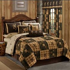 Delectably Yours Browning Country Bedding Collection & Accessories by Kimlor Mills - A patchwork quilt look comforter with the Browning Buckmark Logo -    See all Browning Burkmark Bedding at #DelectablyYours Bedding & Decor
