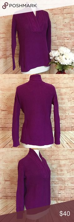 Ralph Lauren Oversized XS V-Neck Knit Sweater A Rich Solid Purple V-Neck Cable Knit Sweater by Lauren Ralph Lauren. An Oversized Extra Small, could fit Small or Medium as well. Holiday Edition, Medium Knit Sweater, Comfortable for Everyday Wear. 100% Cotton, Machine Wash Cold. Lauren Ralph Lauren Sweaters V-Necks