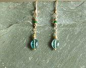 Elegant Emerald Earrings, genuine Columbian emeralds, 14K goldfilled, undyed blue green emeralds, may birthstone, authentic emerald jewelry
