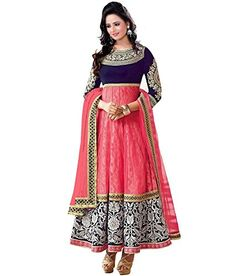 Varibha Women's Branded Indian Style Net Pink Salwar Suit Dress Material ( Holi Offers & Discount Best Gift For Mom, Wife, Sister )