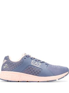 Blue logo laceup sneakers from Ea7 Emporio Armani featuring mesh panels a logo patch at the tongue a laceup front fastening a logo to the outside a round toe and a rubber sole. Armani Logo, Mesh Panel, Emporio Armani, The Outsiders, Patches, Lace Up, Logos, Sneakers, Tennis