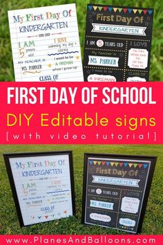 First day of school signs free printable! DIY first day of school signs you can make from the comfort of your home in as little as 15 minutes. Editable first day of school signs for free. First Day School Sign, First Day Of School Pictures, Diy Back To School, School Signs, School Photos, Preschool First Day, Kindergarten First Day, Reggio, School Chalkboard
