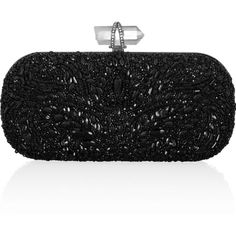 Marchesa Lily embellished mesh box clutch ($2,995) ❤ liked on Polyvore featuring bags, handbags, clutches, purses, bolsas, accessories, black, black beaded handbag, beaded handbag e clasp purse