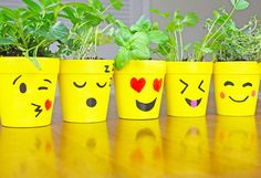Emoji Ceramic Flower Pots Looking for a fun idea for DIY flower pots? Grab some yellow paint and a paint marker and make emoji flower pots. Have fun making all kinds of emoji faces. Flower Pot Art, Flower Pot Design, Clay Flower Pots, Flower Pot Crafts, Ceramic Flower Pots, Clay Pot Crafts, Clay Pots, Ceramic Pots, Painted Plant Pots