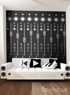Mixing Console Sliders Wall Decal Black- FL Studio Recording Studio Music Producer Audio Waves Logic Pro by Marcos Crespo for Blazing Vault - Transform your walls with this amazing graphic of Recording Studio Sound Board Knobs (FL Studio Ver - Recording Studio Design, Audio Room, Music Wall, Asian Decor, Wall Spaces, Textured Walls, Sliders, Wall Decals, 3d Wall