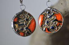 jewelry unique  earrings ceramic earring  red earrings  by zolanna