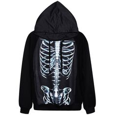 Black Cool Womens Skeleton Printed Pullover Hoodie ($31) ❤ liked on Polyvore featuring tops, hoodies, jackets, shirts, black, black pullover, pullover hooded sweatshirt, black hoodie, pullover hoodie y black pullover hoodie