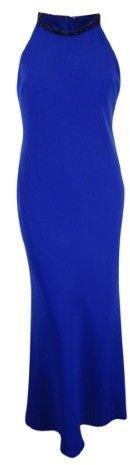 Calvin Klein Women's Embellished Halter-Neck Crepe Gown (12, Blue)