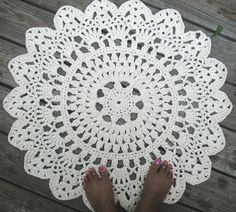 White Off White or Black Cotton Crochet Doily by byCamilleDesigns